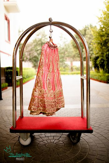 Photo of candy pink bridal lehenga