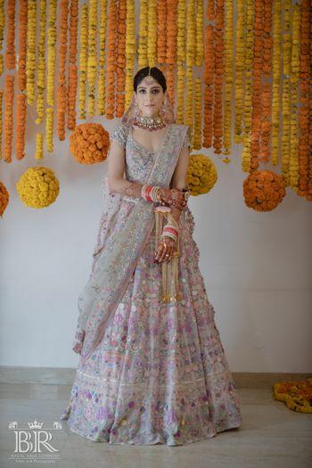 Bride in an offbeat bridal lehenga