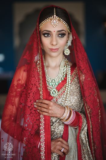 Wedding day bridal portrait idea in red and gold lehenga