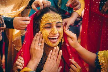 A fun haldi bridal shot.