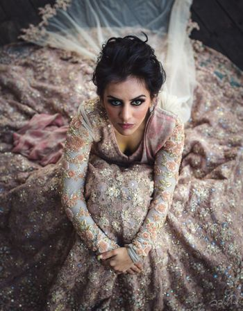 Photo of Sabyasachi bride with lehenga all flared out