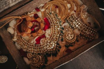 Beautiful layout of the bridal jewellery