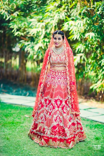Photo of Offbeat red koesch bridal lehenga