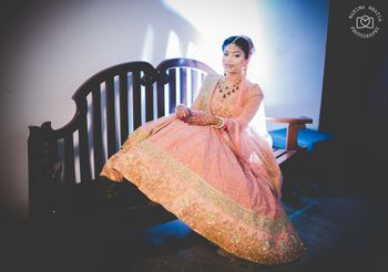 Pink threadwork lehenga