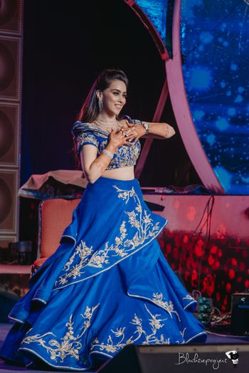 Royal blue layered lehenga for sangeet