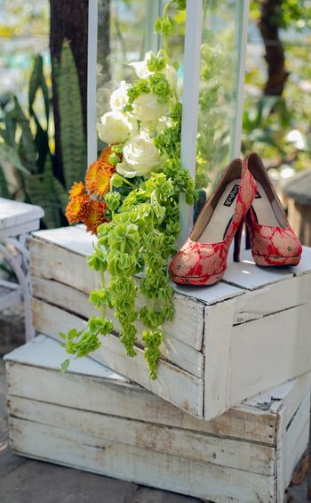 Photo of Red brocade bridal shoes