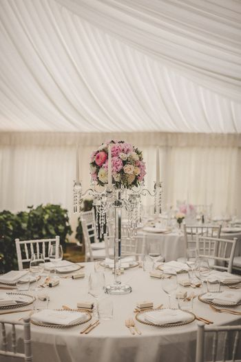 Photo of Glamorous reception decor in white and blush pink