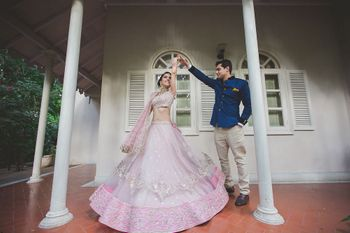 Twirling bride in lavender lehenga