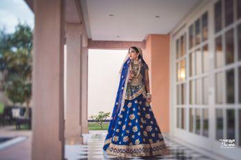 Offbeat bridal lehenga in blue Sabyasachi