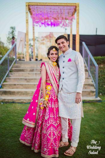 Photo of Bright pink gota patti lehenga for mehendi by Anita Dongre