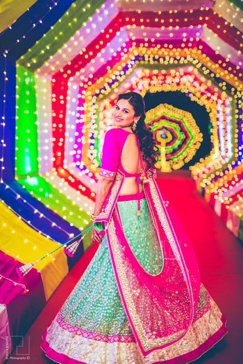 Photo of light blue and pink lehenga with silver sequin embroidery