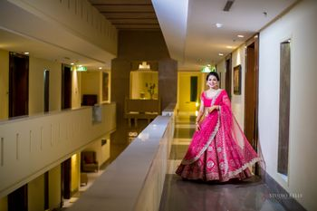 pink and gold sangeet or engagement lehenga
