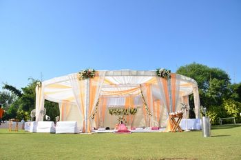 Photo of peach and white drapes for morning wedding