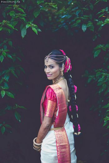 South Indian bride looking back