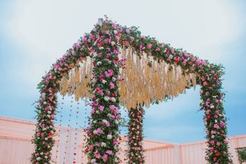 Photo of A beautiful mandap floral decor.