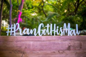 Photo of Wedding hashtag as decor