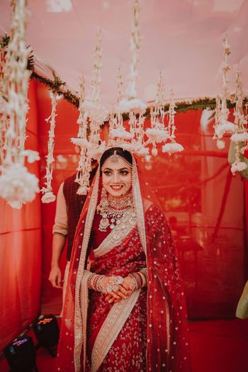 Bride in a red saree