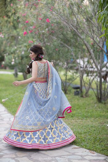 Photo of Ice blue lehenga with pink border