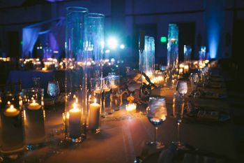 glass vases with candles