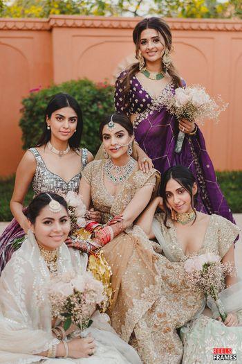 bride with bridesmaids shot ideas
