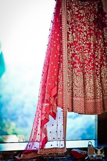 Photo of Getting Ready Shot with Lehenga Dupatta and Shoes