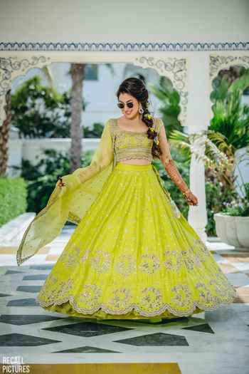 Photo of Lime green anushree reddy lehenga for mehendi