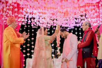 Photo of Mandap decor with pink gota tassels