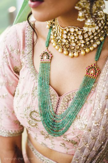 Photo of Sweetheart neckline green bead necklace