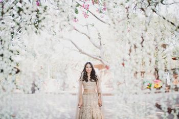 Photo of Bridal portrait with white floral backdrop