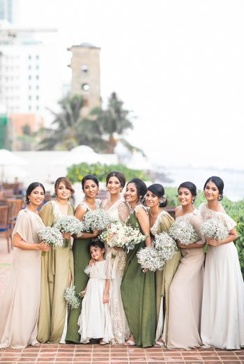 Cute bridesmaid photo with matching babys breath bouquet
