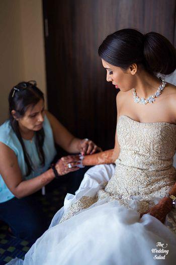 Off shoulder elie saab wedding gown