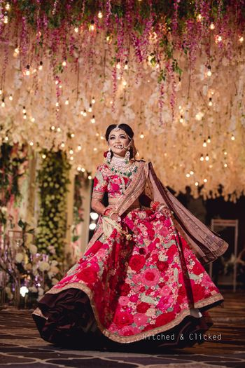 Photo of Floral embroidered sabyasachi lehenga for bride