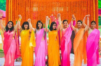 Photo of matching bridesmaid sarees