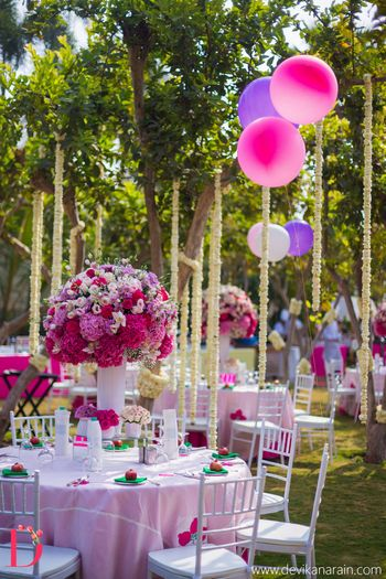 Pink and purple wedding decor for Mehendi