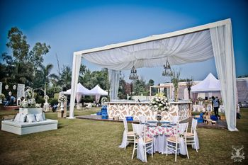 Photo of Morning wedding decor in white