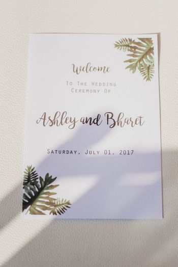 Photo of Simple tropical theme wedding card
