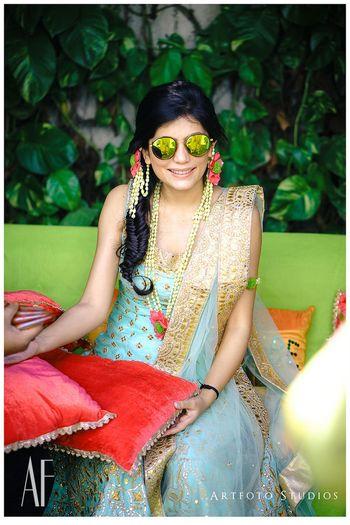 Turquoise and gold sharara by Roopa Lamba