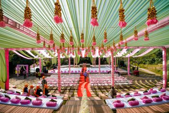 Photo of Pink and green anand Karaj decor with hanging gota strings