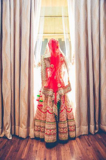 heavy red bridal lehenga