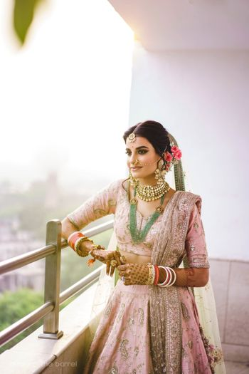 Photo of Pretty modern bride pastel lehenga