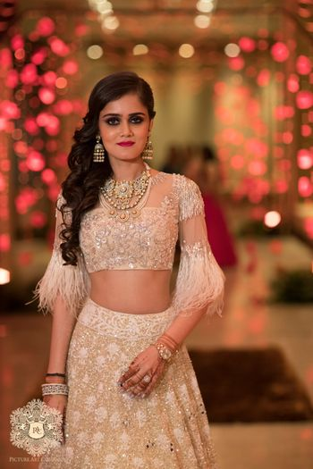 Photo of Engagement bridal look with fringed blouse from Manish malhotra