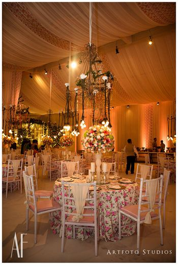 Elegant white and pink table setting for engagement