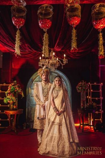 Photo of Classic royal wedding couple portrait