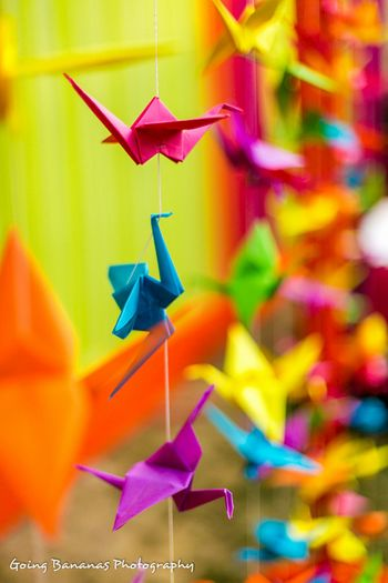 Photo of paper origami cranes made to provide a backdrop of the vedi