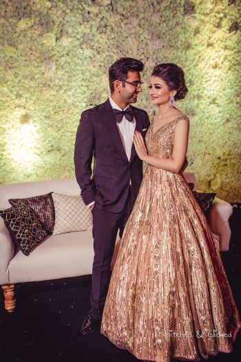 Gold cocktail gown for sangeet