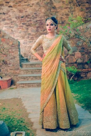 Photo of Shimmery green lehenga sangeet