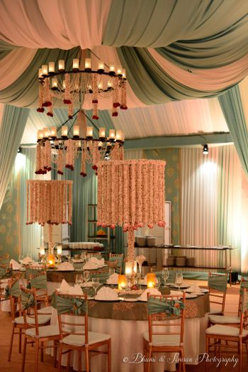 Photo of Mint green pastel decor for engagement indian