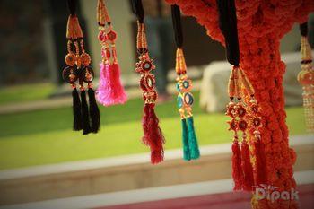 Colourful Hanging Parandi as Prop for Mehendi