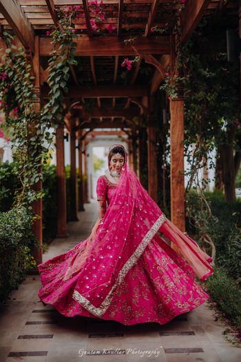 Pretty hot pink lehenga for an Indian bride