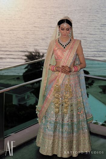 Photo of Offbeat bridal lehenga by Anita Dongre in pastel with gota patti work